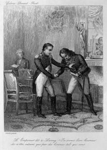 L0005412 Emperor Napoleon congratulating Baron Larrey in 1813. Engrav