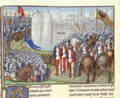20aout-Crusaders_besieging_Damascus_-_Chronique_d'Ernoul_et_de_Bernard_le_Tr_sorier_(late_15th_C),_f.280v_-_BL_Royal_MS_15_E_I